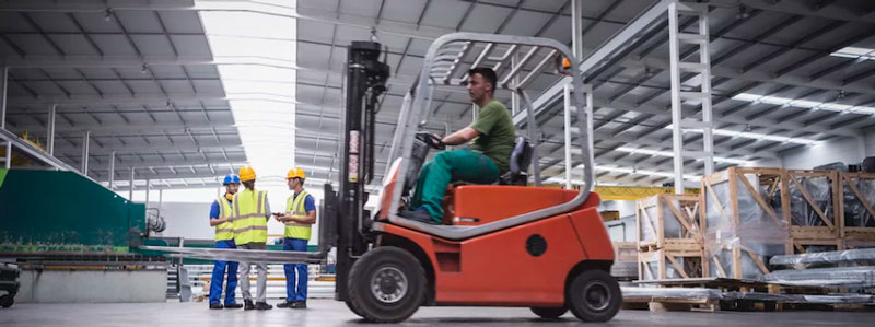 Forklift in mega warehouse