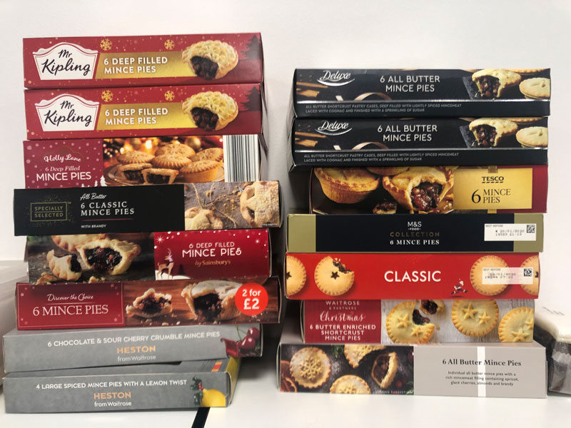 mince pie boxes stacked