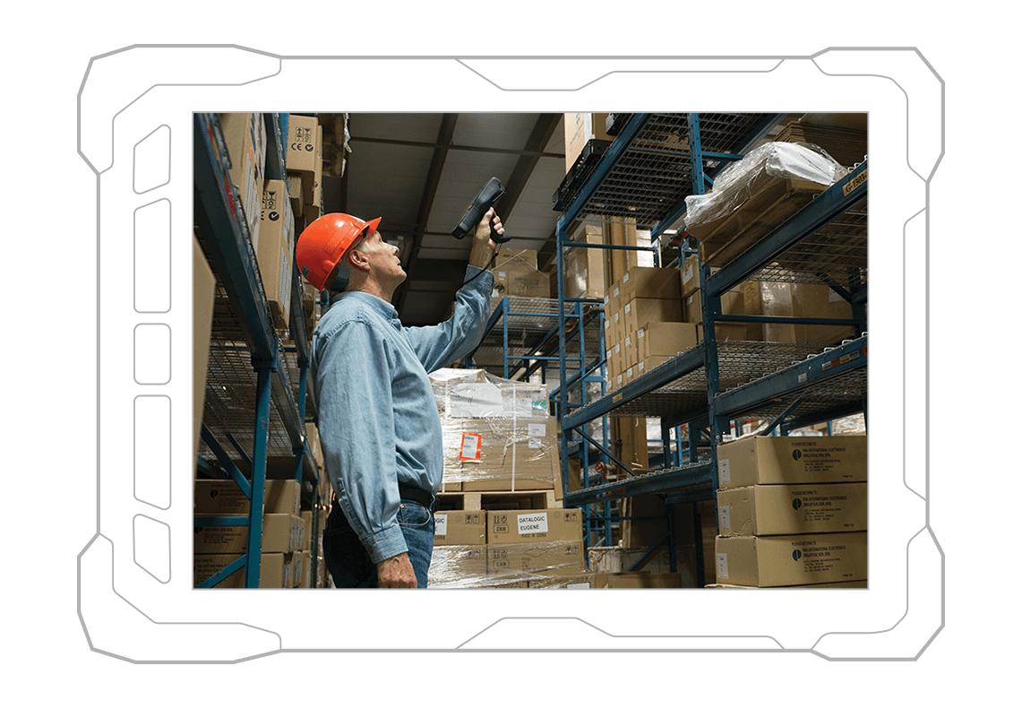 worker with warehouse scanning device