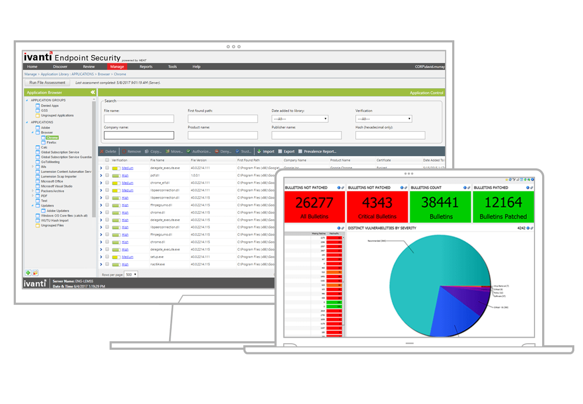 endpoint security product screenshots
