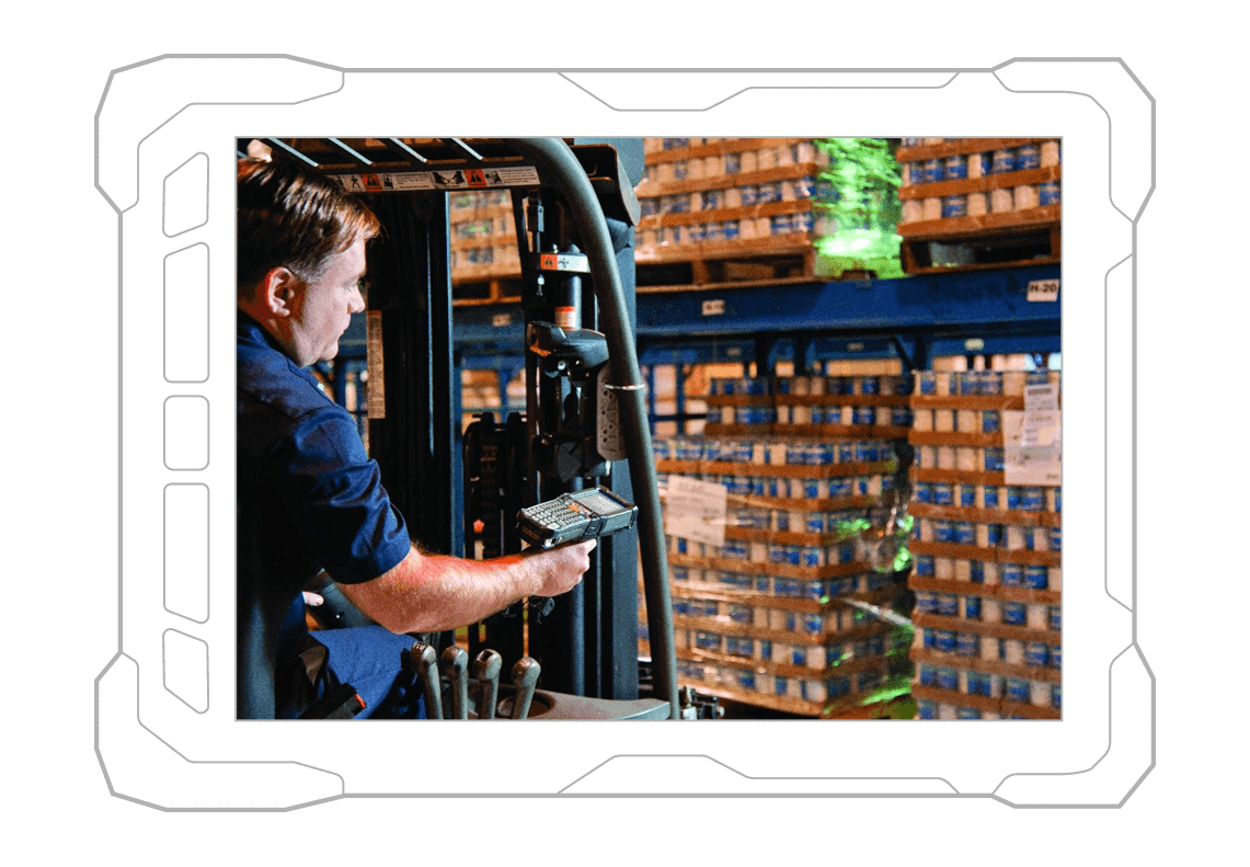 worker scanning products in warehouse